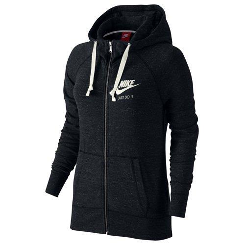 Nike W NSW Gym VNTG Damen Sweatshirt Hoodie FZ-010, schwarz - Schwarz / Segel, L