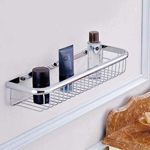 LXLH Shower Shelf,Rose Gold Single Tier Brass Bathroom Corner Shelves Basket Holder Bathroom soap Holder Square Bath Shampoo Shelf