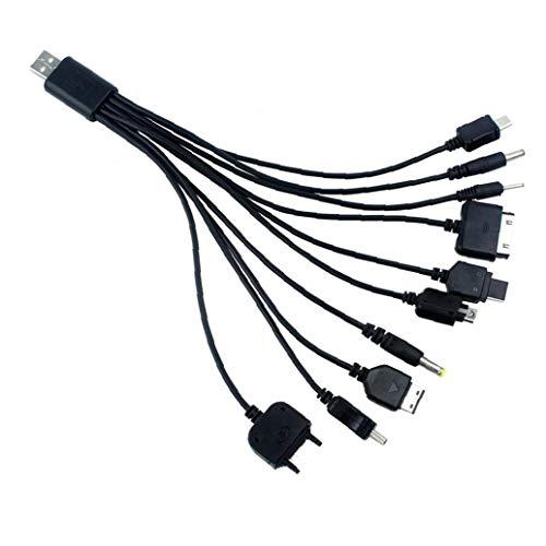 Canjerusof 10 en 1 USB Universal del Cable del Cargador del Cargador de Nokia multifunción de Carga Cable de sincronización para el iPod iPhone PSP cámara Nokia tirón teléfono Viejo