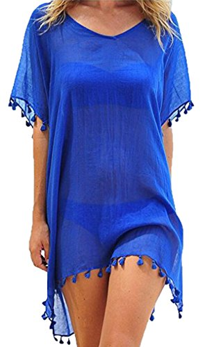Cindeyar Damen Strandkleid Sommerkleid Bikini Cover Up Sommer Bademode Longshirt Tunika Strandponcho (Blau)