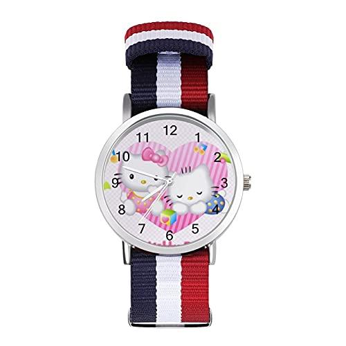 Hello Kitty - Reloj de ocio para adultos con trenza escala, ajustable y elegante espejo de cristal de 1.6 pulgadas para hombres y mujeres