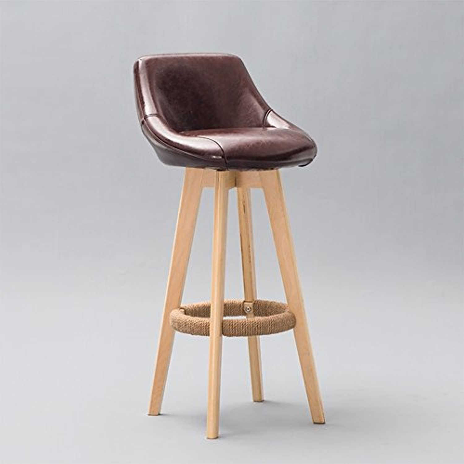 High Stools, Bar Stool Cafe Western Restaurant Front Desk Kitchen Chair Solid Wood Vintage with Backrest Chair (44  44  86CM)