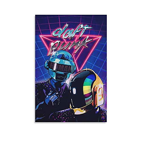 YANJI Daft Punk Retro Posters Poster Decorative Painting Canvas Wall Art Living Room Posters Bedroom Painting 12×18inch(30×45cm)