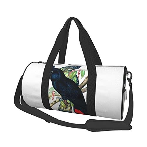 Bolsa de deporte multifunción para gimnasio, unisex, bolsa de lona de hombro de gran capacidad, bolsa de viaje de banco, cacatúa negra australiana