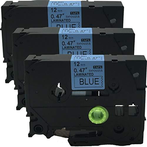 Neouza 4PK compatibile DYMO LetraTag plastica etichette 12/mm x 4/m 91208 Black on Silver