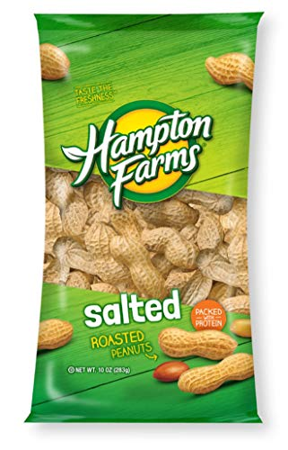 LJIF Whole Hampton Farms Raw Peanuts Salted & Roasted in Shell Shelled (2) 10 Ounce Bags