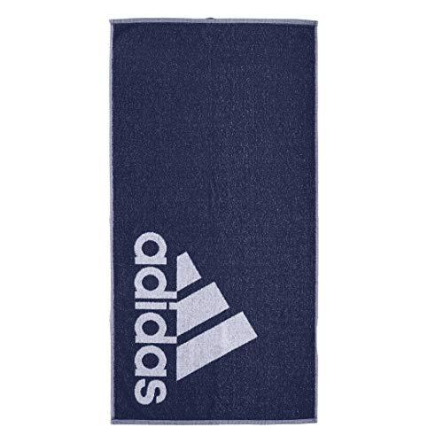 adidas Towel - Toalla de mano (talla única), color azul marino y blanco