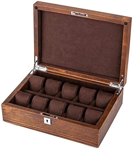 KANGNING Caja de colección de relojes – Caja de reloj grande para hombres y mujeres – 10 ranuras organizador de joyas de lujo relojes de pulsera de madera con cerradura de metal bien