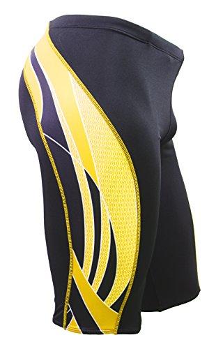 Adoretex Boy s Men s Side Wings Swim Jammer Swimsuit (MJ009) - Black Gold - 26