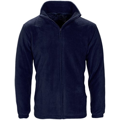 MyShoeStore Unisex  Polar Polo Fleece Jacket Anti Pill Micro Work Coat Top - X-Large - Navy