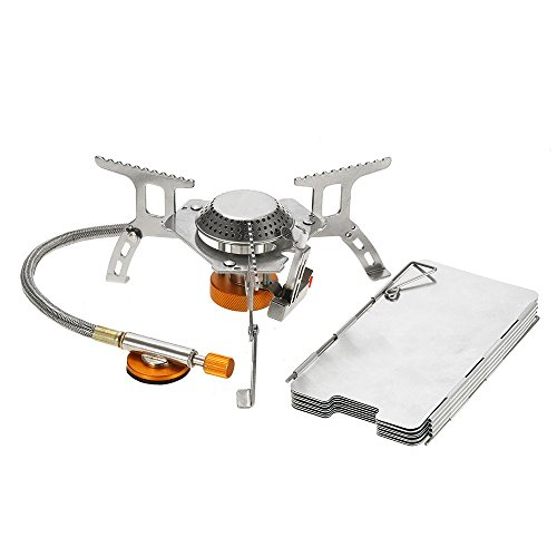 Lixada Camping Gas Stove Convenient Piezo Ignition Split Burner with Gas Conversion Head Adapter and Carrying Case