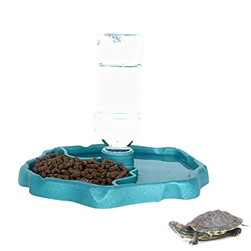 X-zoo Cuencos para reptiles anfibios, Tortuga Accesorios 2 en 1 Reptiles Alimentación Plato Dispensador Automático Tortuga Agua Plato, Lago Azul