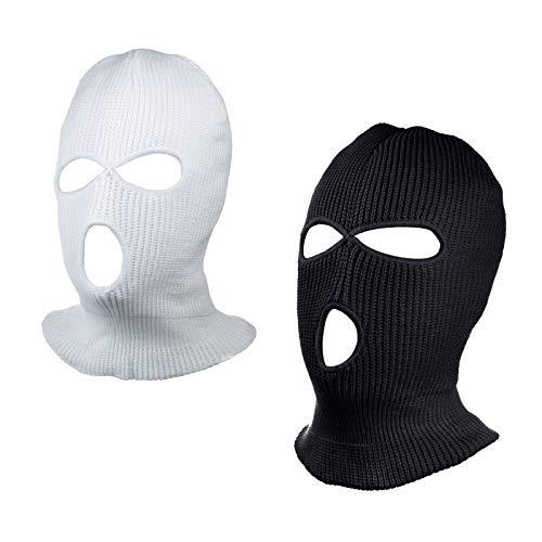 SUNTRADE 3-Loch Skimaske Gesichtsmaske Sturmhaube für Damen und Herren, 2er-Set Gr. Einheitsgröße (Schwarz + Weiß)