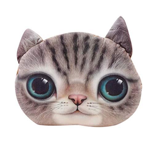 Deloito Lustiges 3D Katzen Dekokissen Plüsch Polster Puppe Geschenk Niedliches Tierkissen Autosofa Dekorativ Kissen Wohnkultur (C,33×38cm)
