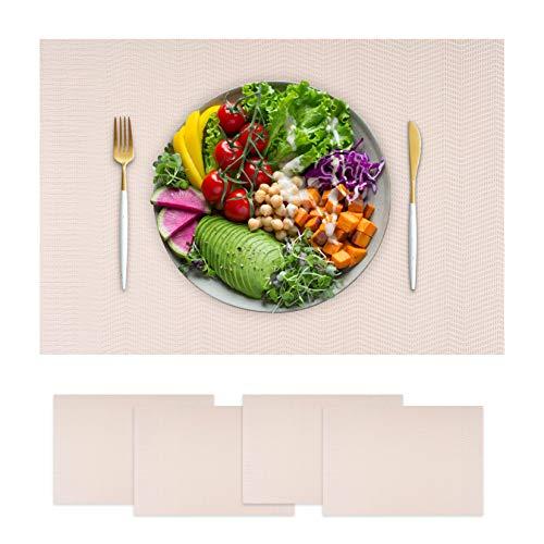 Hochwertiges Tischset, 4er Platzset, Platzdeckchen, Tischuntersetzer, Tischmatte, Platzdecken, abwaschbar, hitzebeständig, schmutzabweisend, spülmaschinenfest, rutschfest, weiß, creme, beige
