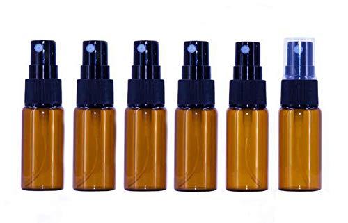 12 botellas de cristal ámbar vacías con pulverizador transparente – perfecto para aceites esenciales y aromaterapia (15 ml)