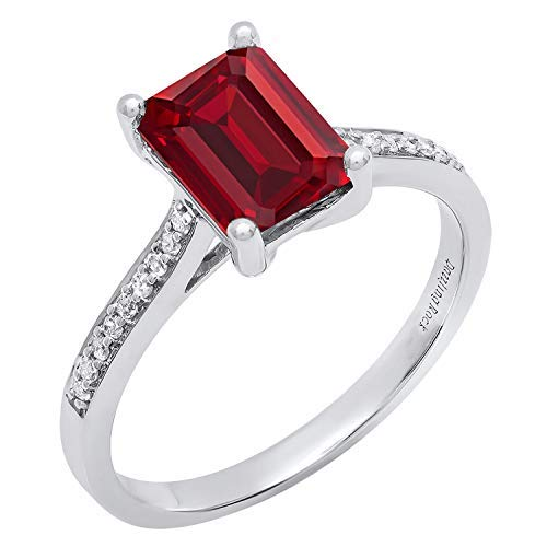 Dazzlingrock Collection Sterling Silver 6 MM Heart Lab Created Ruby & Round Diamond Engagement Ring, Size 8
