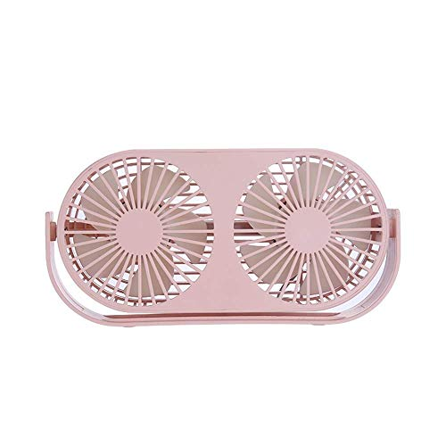 BoKa-Store Fans USB portátil Mini Ventilador portátil Recargable USB de Escritorio de Oficina en casa de aromaterapia portátil de Doble Ventilador (Color : Pink)