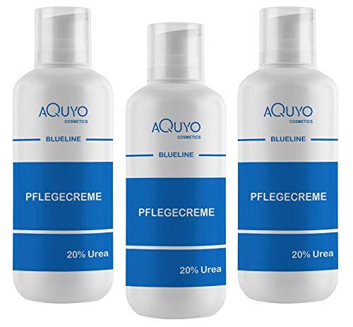 Blueline 20% Urea Creme, Schrundencreme für sehr trockene und verhornte Haut, Pflegecreme bei Schuppenflechte und Neurodermitis, Hornhaut erweicher und Hornhautentferner (3x 500ml)