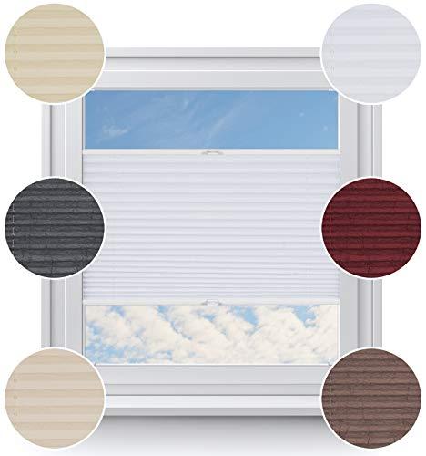 Rollo Studio Fenster Plissee auf Maß,Moderner Crushed Optik, Viele Größen und Farben, Montage in der Glasleiste für alle Fenster, Weiß