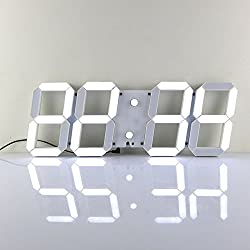 Goetland 16-3/4 inches Jumbo Wall Clock LED Digital Multi Functional Remote Control Countdown Timer Temperaturer, White Digital on White Shell