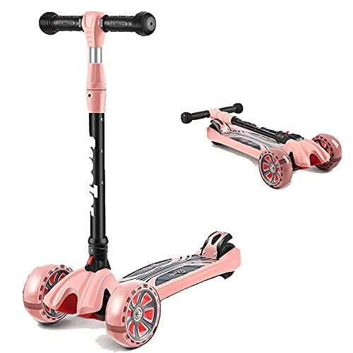 ZHZHUANG Freestyle Scooter, Scooter Infantil, Scooter Plegable con 3 Ruedas de Luz Led, Ajustes de Freno Trasero Ajustables de 4 Altura, Sistema de Plegado de Liberación Rápida