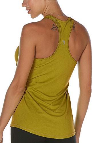 icyzone Workout Tank Tops for Women - Racerback Athletic Yoga Tops, Running Exercise Gym Shirts (L, Mustard)