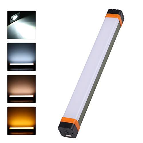 Lixada draagbare campinglamp met zaklamp en 3 kleuren LED-verlichting, oplaadbaar, USB, werkverlichting, magnetische lamp voor buiten