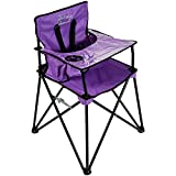 ciao! baby Portable High Chair for Babies and Toddlers, Fold Up Outdoor Travel Seat with Tray and Carry Bag for Camping, Picnics, Beach Days, Sporting Events, and More (Purple)