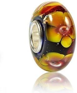 Materia 925 plata objetos de cristal de murano beads - cristal colgante de girasol amarillo con cuentas pulsera #481