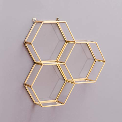 Estante Decoración del hogar Flotante geométrica Hexagonal, Hierro Forjado Vidrio decoración de Moda Almacenamiento de Sala exhibición Colgante de Pared para dor