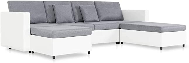 vidaXL 4-Seater Pull-Out Sofa Bed Indoor Lounge Home Living Room Office Furniture Interior Couch Sofa Seat Chaise Lounge L...