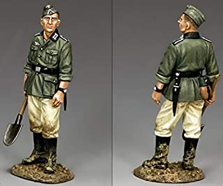 King & Country Toy Soldiers WW2 German Army WH024 Combat Engineer Standing with Shovel 1:30 Scale Pewter