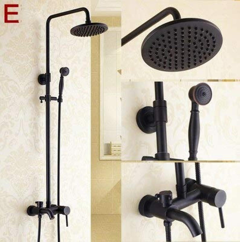 Bathroom fixture New Oil Rubbed Bronze schwarz Bathtub Shower Set Mixer Faucet 8  Rain Shower Head with Handheld shower,E