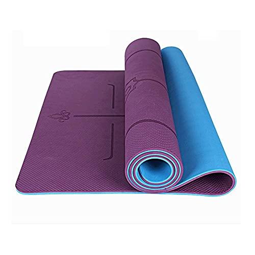 Sysrqcer Mat de Yoga Gruesa 10 mm de Doble Cara sin Deslizamiento ecológico TPE Fitness Mat con líneas de alineación -Gym Matt para el hogar (Color : Purple)