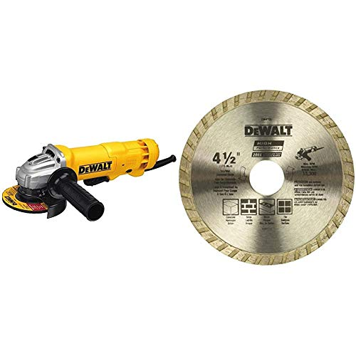 DEWALT Angle Grinder Tool, Paddle Switch, 4-1/2-Inch, 11-Amp (DWE402) & Diamond Blade for Masonry, Dry Cutting, Continuous Rim, 7/8-Inch Arbor, 4-1/2-Inch (DW4725)