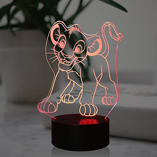 Simba - Lámpara de noche LED 3D con 7 colores y mando a distancia, diseño de león