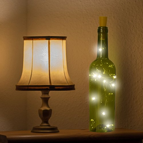 Water, Beer and Wine Bottle Cork Fairy String Lights | 10 Warm White Decorative Led | Battery Operated | Table Decoration | Waterproof | Invisible