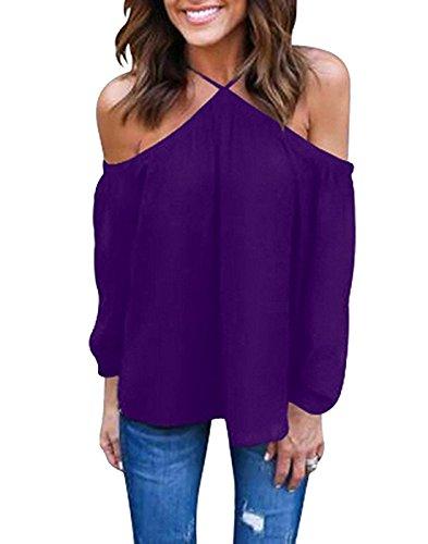 Vemvan Women's Spaghetti Halter Off The Shoulder Blouse Long Sleeve Shirt Tops Purple