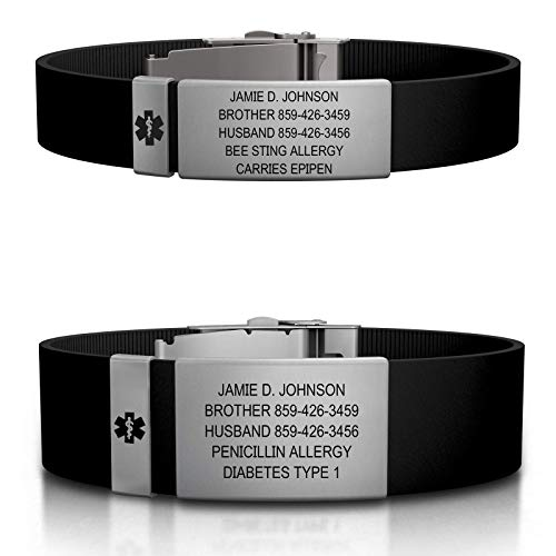 ROAD iD Personalized Medical ID Bracelet - Premium ID Wristband with Medical Alert Badge - Silicone Clasp