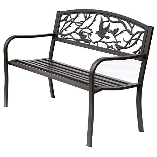 Outsunny Panchina da Giardino Impermeabile Acciaio e Ghisa per Esterni, Schienale con Decorazioni Motivo Naturale, 127x60cm, Marrone