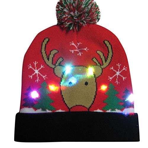 LANSKIRT Weihnachten Stilvolle Unisex Männer Frauen LED Leuchten Beanie Hut Mütze Strickmütze für Indoor und Outdoor, Skifahren, Snowboard, Wandern, Freizeit, Spielwatch, Urlaub, Partys, Feier (XX-D)