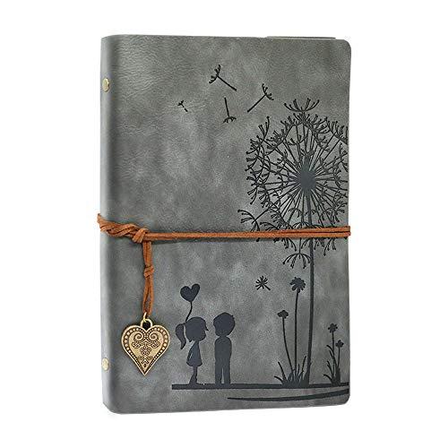 Diario di Viaggio Diario Notebook Vintage A5 Notebook in Pelle Ricaricabile 100 Fogli / 200 Pagine 80GSM Carta senza Acidi Migliore idea Regalo (grigio, A5 21 x 14,5 cm)