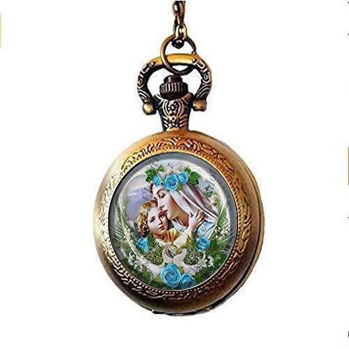 Reloj de bolsillo con medalla religiosa católica y madre María y el bebé Jesús, collar de cristal, joyería vintage