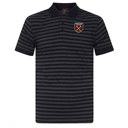 West Ham United FC - Herren Polo-Shirt mit Streifen - Offizielles Merchandise - Geschenk für Fußballfans - Schwarz/Grau mit farbigem Vereinswappen - L