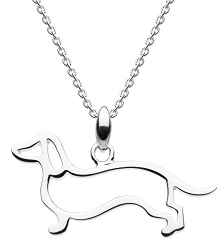 Dew Sterling Silver Sausage Dog Necklace of Length 45.7cm