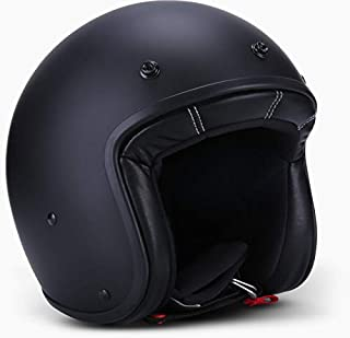 JRT 3/4 Fiberglass Open Face Motorcycle Helmet with Moped Removable and Washable Lining, DOT&ECE Approved (Matt Black,M)