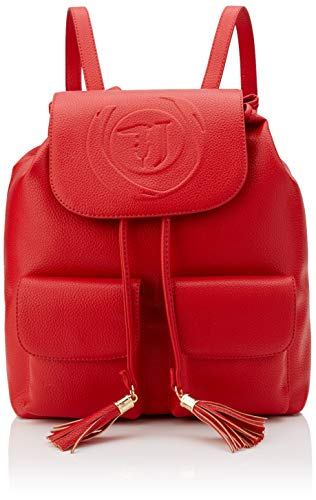 Trussardi Jeans Faith Backpack Tumbled Ecoleat, Zaino Donna, Rosso (Red), 33x15x27 cm (W x H x L)
