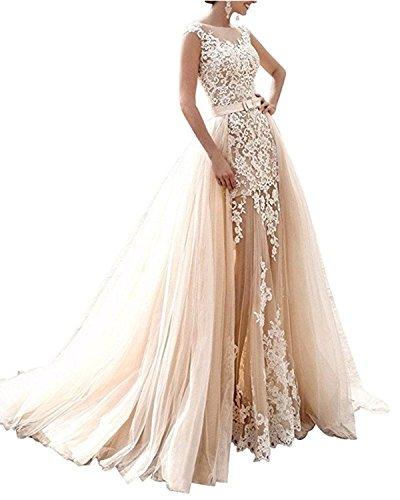 APXPF Damen Meerjungfrau Zwei Stücke schnüren sie Lange Brautkleid mit abnehmbarem Tüllrock 10 Champagner