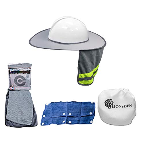 Hard Hat Sun Shade - Full Brim Hardhat Visor Shield, Sweatband, and Cooling Towel Set - Safety Cover for Face and Neck | Mesh Ventilation with Reflective Strip | Best Hard Hat 5 Piece Bundle Gray